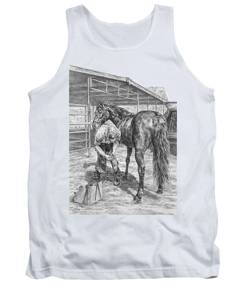 Trim And Fit - Farrier With Horse Art Print Tank Top