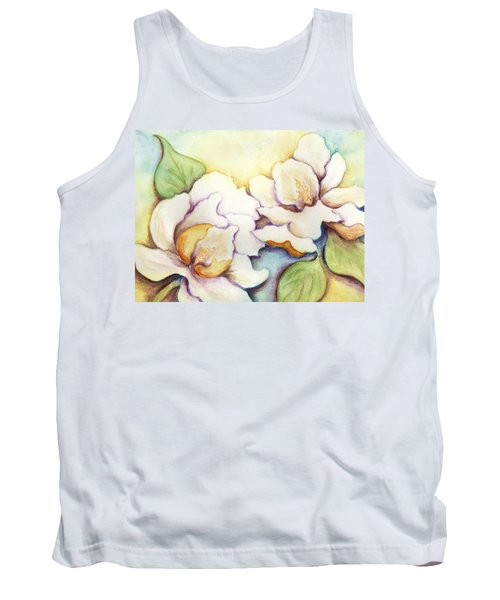 Tank Top featuring the painting Two Magnolia Blossoms by Carla Parris