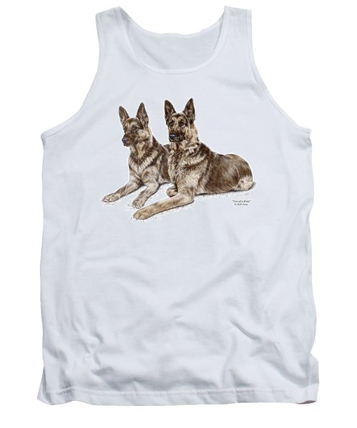 Two Of A Kind - German Shepherd Dogs Print Color Tinted Tank Top