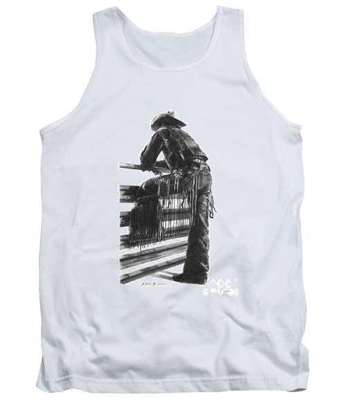 Tank Top featuring the drawing Waiting  by Marianne NANA Betts