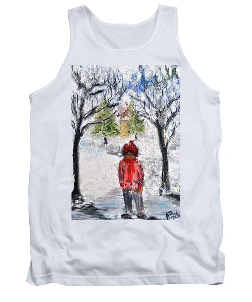 Tank Top featuring the painting Walking Alone by Evelina Popilian