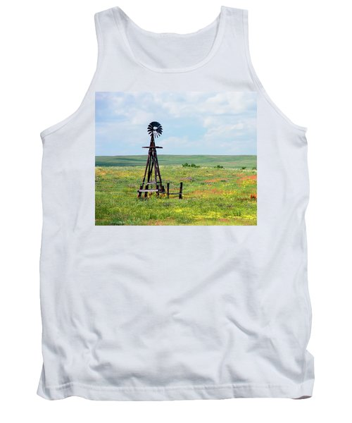 Tank Top featuring the photograph Western Kansas Wooden Windmill  by Michael Flood
