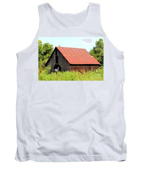 Tank Top featuring the photograph White Horse Waiting by Kathy  White
