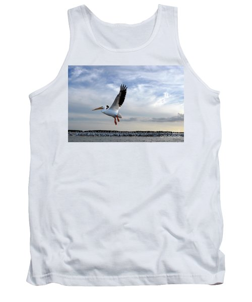 Tank Top featuring the photograph White Pelican Flying Over Island by Dan Friend