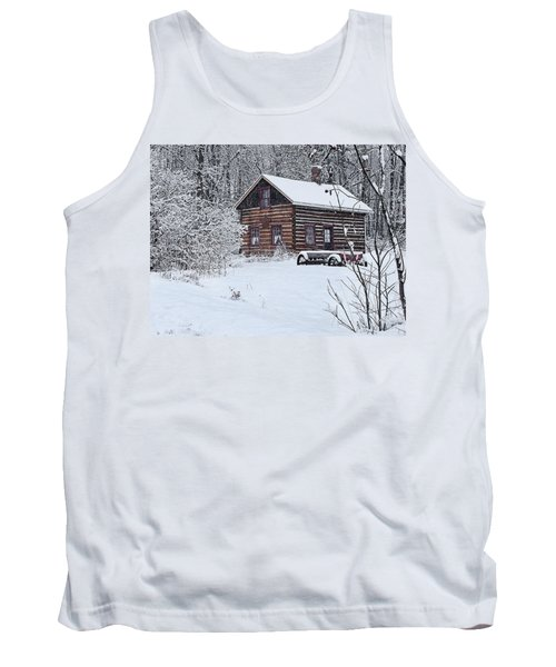 Tank Top featuring the photograph Winter Cabin by Judy  Johnson