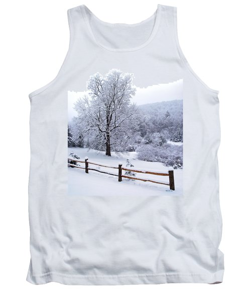 Winter Tree And Fence In The Valley Tank Top