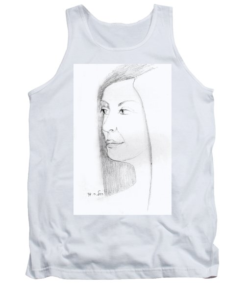 Woman In Black And White Long Hair Red Lips And Shoulders  Tank Top by Rachel Hershkovitz