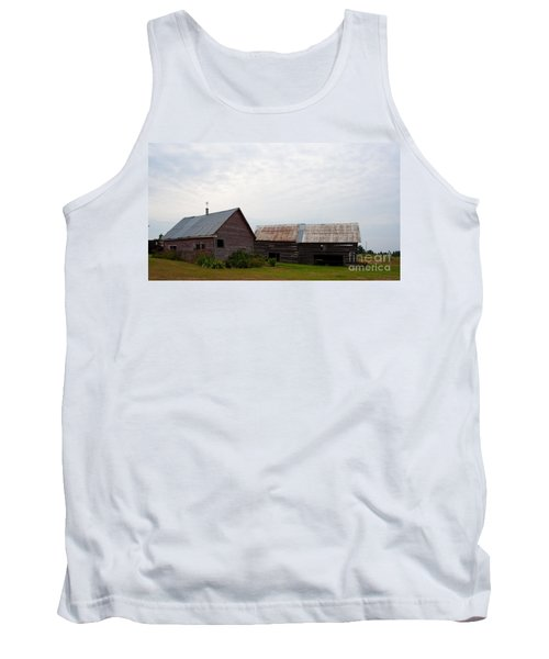 Tank Top featuring the photograph Wood And Log Sheds by Barbara McMahon