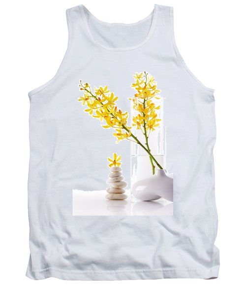 Yellow Orchid Bunchs Tank Top by Atiketta Sangasaeng