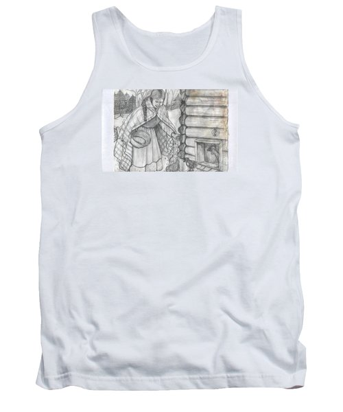 Young Girl Feeding The Chickens In The 1800's Tank Top by Francine Heykoop