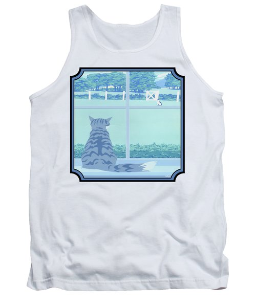 Abstract Cats Staring Stylized Retro Pop Art Nouveau 1980s Green Landscape - Square Format Tank Top