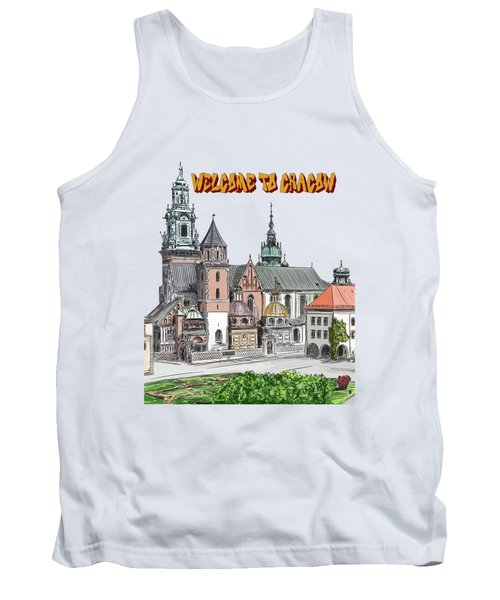 Tank Top featuring the painting  Cracow.world Youth Day In 2016. by Andrzej Szczerski