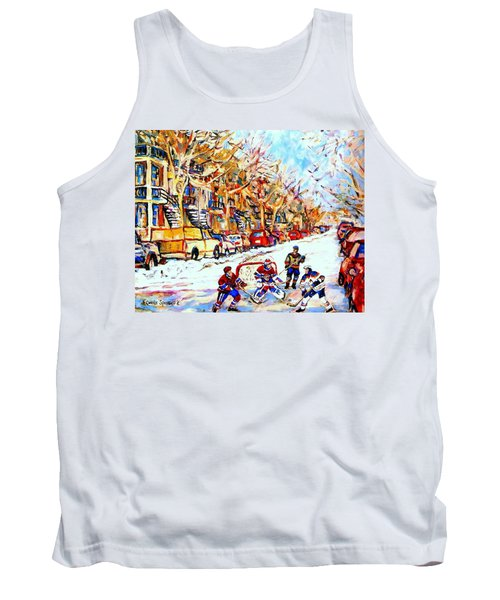 Hockey Game On Colonial Street  Near Roy Montreal City Scene Tank Top