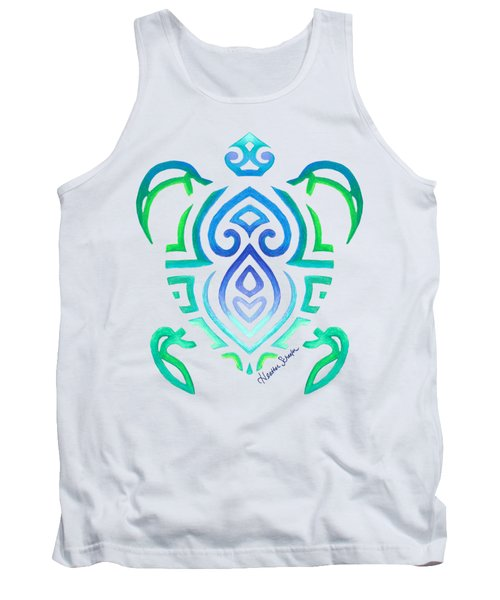 Tribal Turtle Tank Top by Heather Schaefer