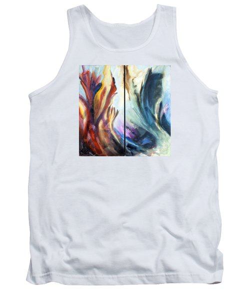 Tank Top featuring the painting 01321 Fire And Waves by AnneKarin Glass