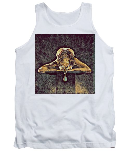 0756s-zac Nude Woman With Amulet On Tall Pedestal  Tank Top