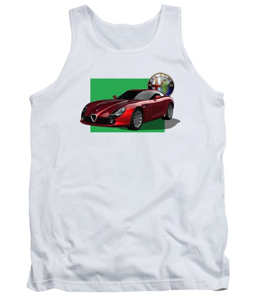 Alfa Romeo Zagato  T Z 3  Stradale With 3 D Badge  Tank Top by Serge Averbukh