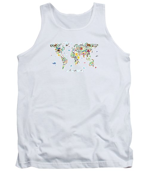 Animal Map Of The World For Children And Kids Tank Top by Michael Tompsett