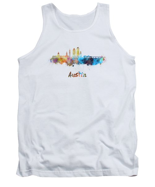 Austin Skyline In Watercolor Tank Top by Pablo Romero