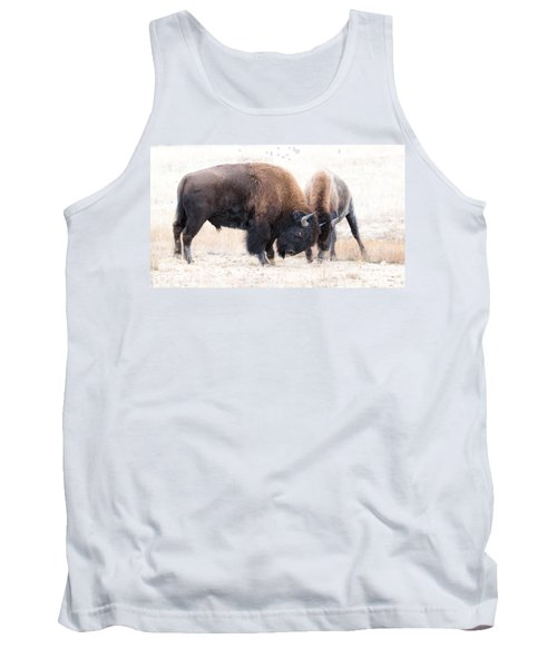 Tank Top featuring the photograph Battle Of The Bison In Rut by Yeates Photography