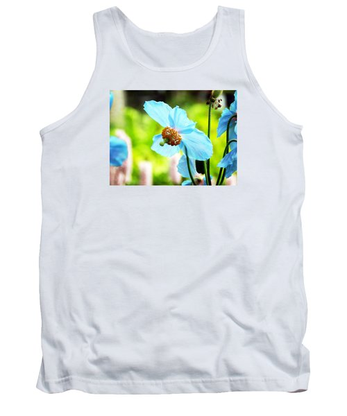 Blue Poppy Tank Top by Zinvolle Art