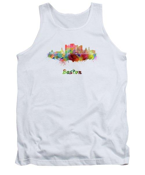 Boston Skyline In Watercolor Tank Top
