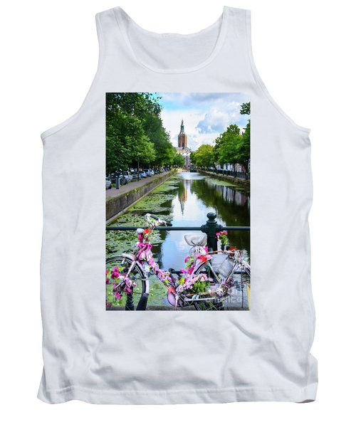 Tank Top featuring the digital art Canal And Decorated Bike In The Hague by RicardMN Photography