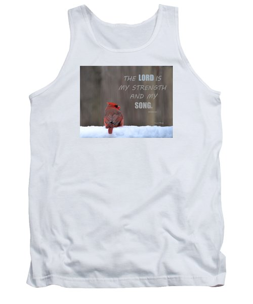 Cardinal In The Snowstorm With Scripture Tank Top by Sandi OReilly