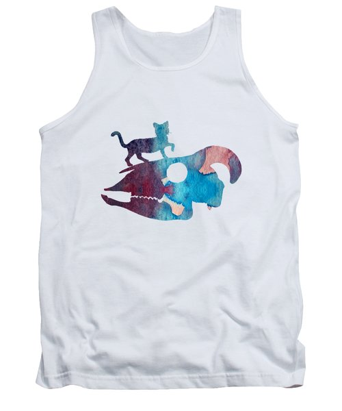 Cat On Goat Skull Tank Top
