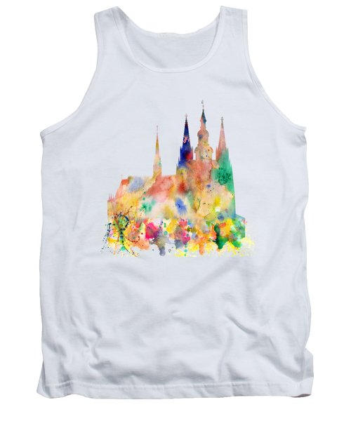 Cathedral Of Saint Vitus In The Prague Castle Watercolor Art Tank Top