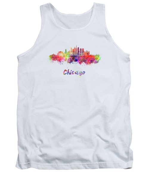 Chicago Skyline In Watercolor Tank Top by Pablo Romero