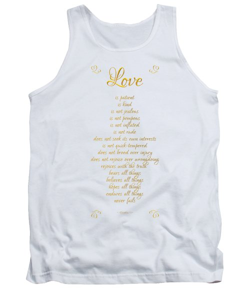 1 Corinthians 13 Love Is White Background Tank Top