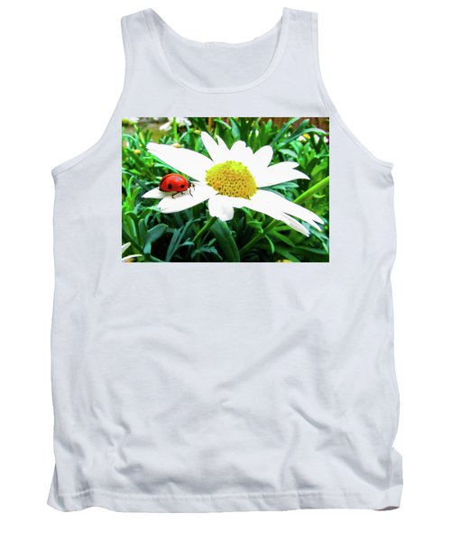Daisy Flower And Ladybug Tank Top