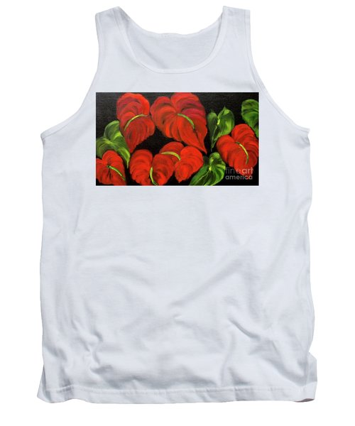 Dancing Anthuriums Tank Top by Jenny Lee