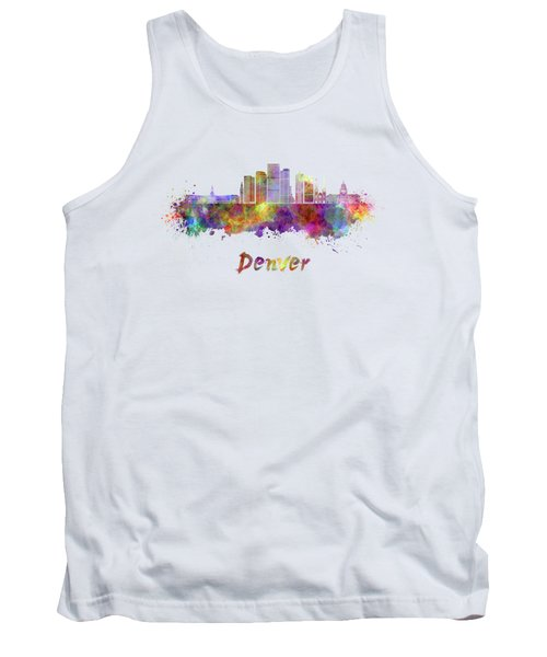 Denver Skyline In Watercolor Tank Top