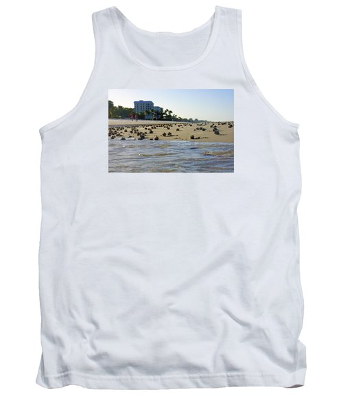 Tank Top featuring the photograph Fighting Conchs At Lowdermilk Park Beach In Naples, Fl by Robb Stan