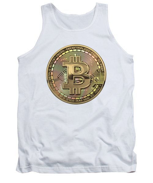 Gold Bitcoin Effigy Over White Leather Tank Top