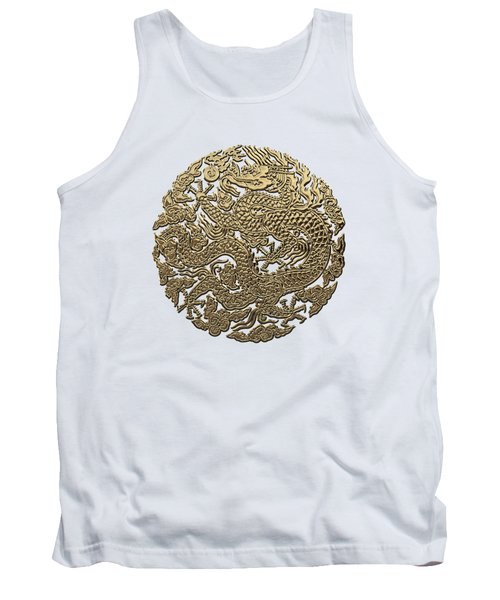 Golden Chinese Dragon White Leather  Tank Top
