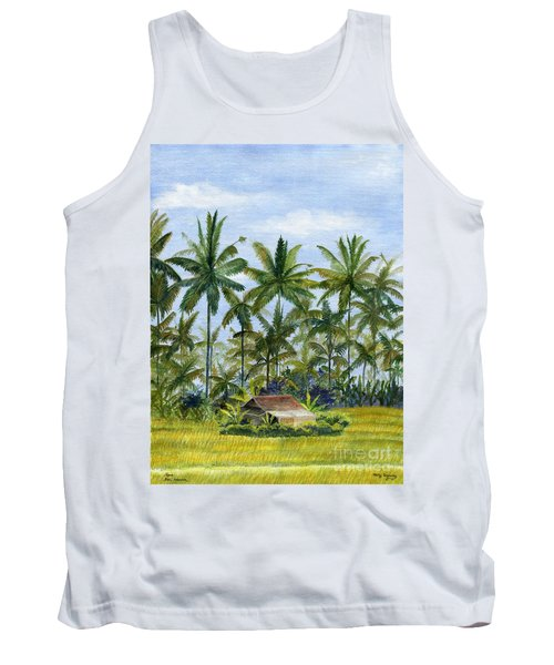 Tank Top featuring the painting Home Bali Ubud Indonesia by Melly Terpening