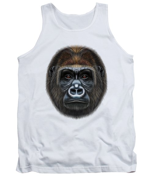 Illustrated Portrait Of Gorilla Male. Tank Top