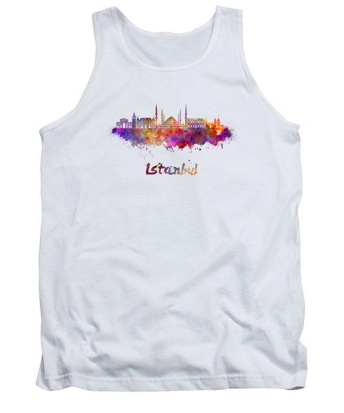 Istanbul Skyline In Watercolor Tank Top by Pablo Romero
