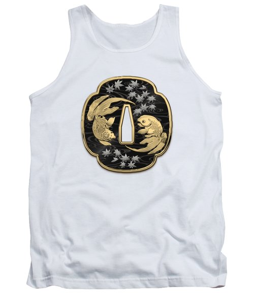 Japanese Katana Tsuba - Twin Gold Fish On Black Steel Over White Leather Tank Top