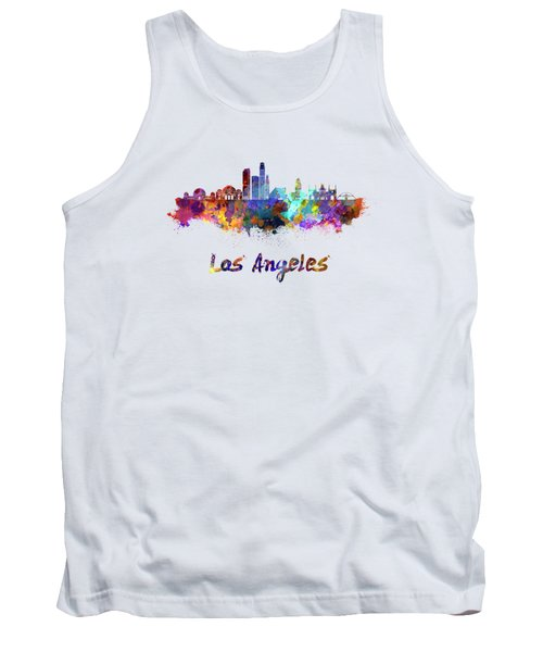 Los Angeles Skyline In Watercolor Tank Top by Pablo Romero