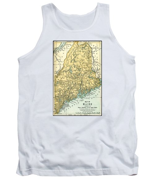 Maine Antique Map 1891 Tank Top by Phil Cardamone