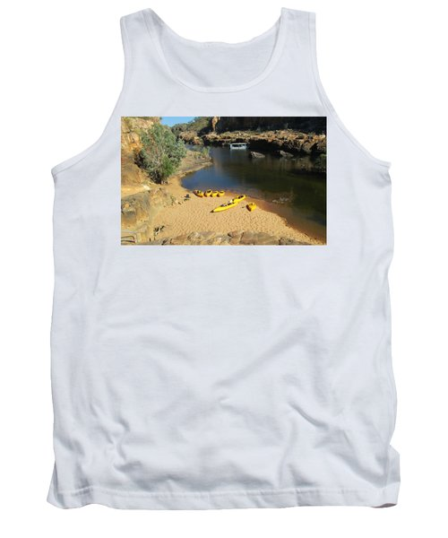 Tank Top featuring the photograph Nitmiluk Gorge Kayaks by Tony Mathews
