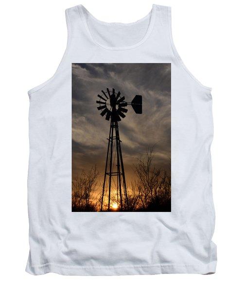 Oklahoma Windmill And Sunset Tank Top