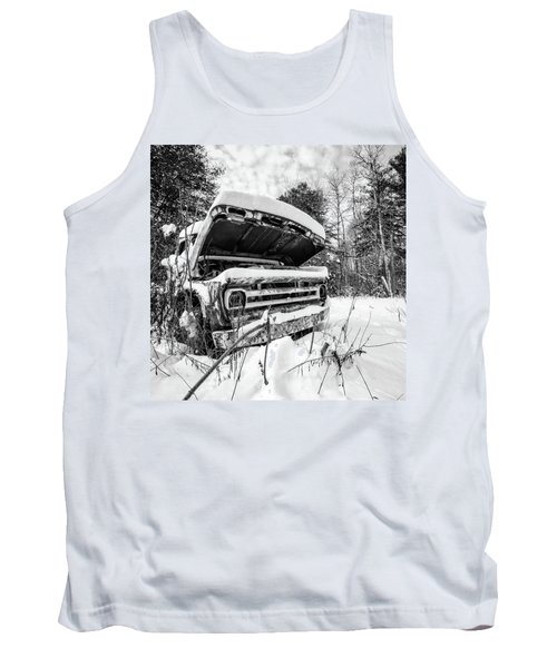 Old Abandoned Pickup Truck In The Snow Tank Top