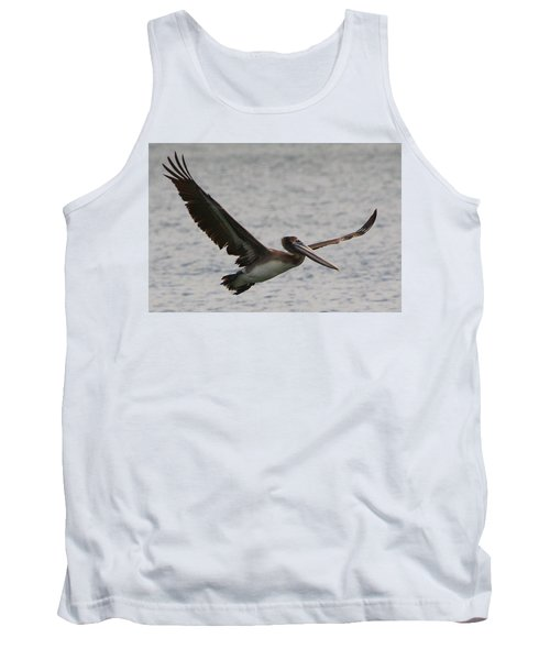 Tank Top featuring the photograph Pelican In Flight by Laurel Talabere