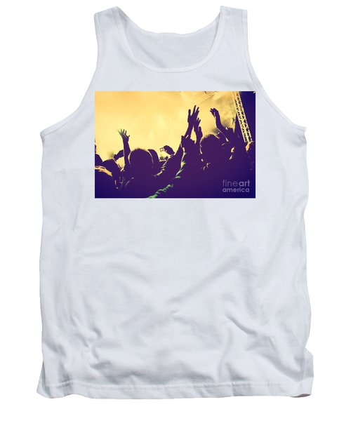 People With Hands Up In Night Club Tank Top
