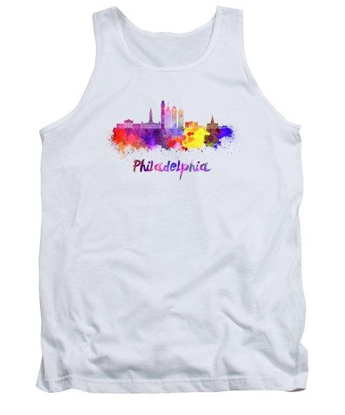 Philadelphia Skyline In Watercolor Tank Top by Pablo Romero